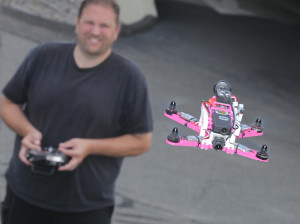 The 3D printed quadcopter in flight